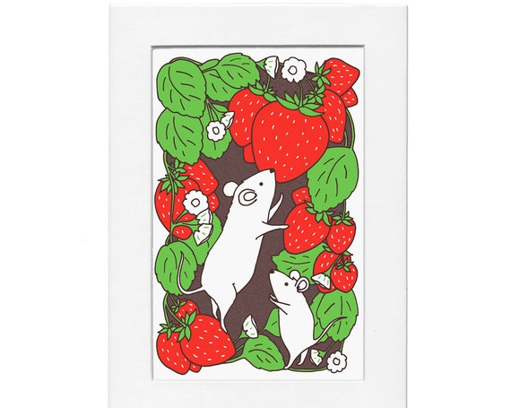 Strawberry Patch Mice 5 by 7 Print with Matte