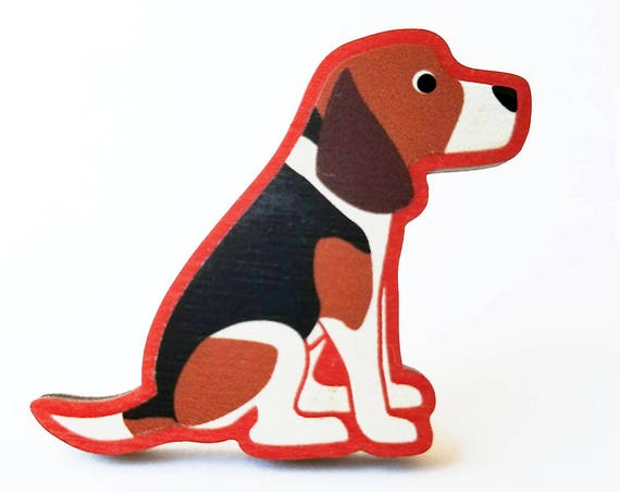 Beagle Wooden Brooch Pin