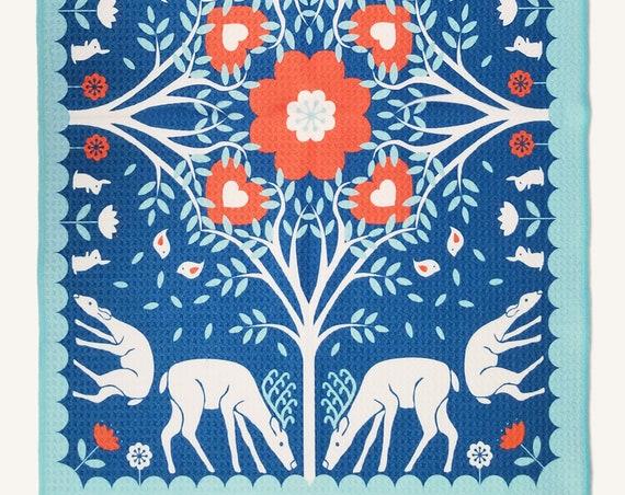Woodland Folk Art Style Microfiber Dish Towel