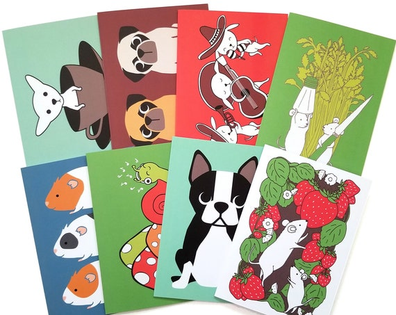 CHOOSE ONE: Assorted All Occasion Animal Individual Blank Greeting Note Card or Choose 8 Card Set