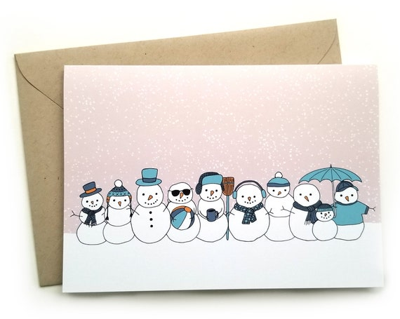 Holiday Snowmen Set of Six Cards and Envelopes
