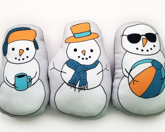 Holiday Snowmen Mini Pillow Set