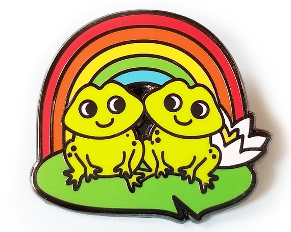 Rainbow Froggy Friends Hard Enamel Frog Lapel Pin