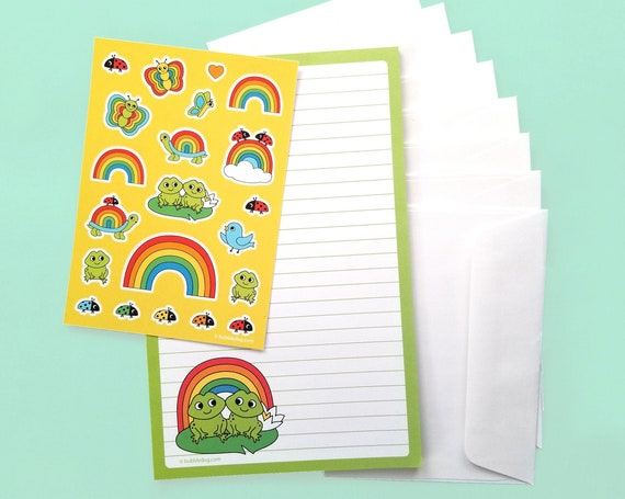 Froggy Friends Notepad, Stickers, and Envelopes Stationery Set
