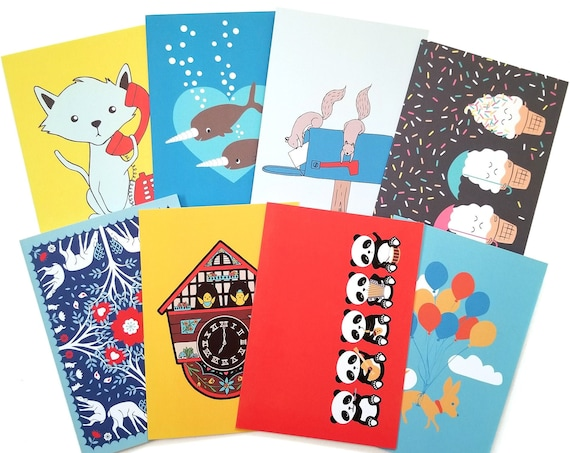 CHOOSE ONE: Assorted All Occasion Primary Color Individual Blank Greeting Note Card or Choose 8 Card Set