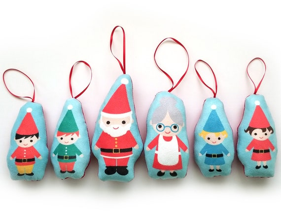 Holiday Santa & Mrs. Claus and Elves Cloth Christmas Tree Ornaments Set