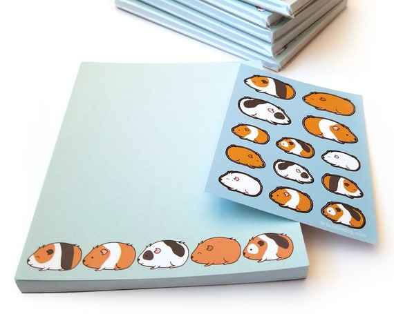Guinea Pigs 50 Sheet Notepad & Coordinating Stickers