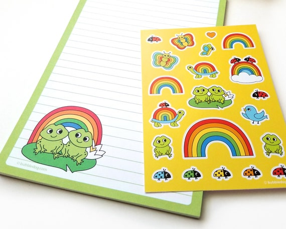 Froggy Friends Stationery Set: Frog & Rainbow Notepad, Stickers, and Envelopes