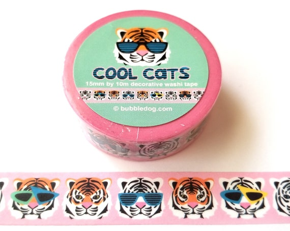 Cool Cats Tigers in Retro Sunglasses Decorative Washi Tape Roll