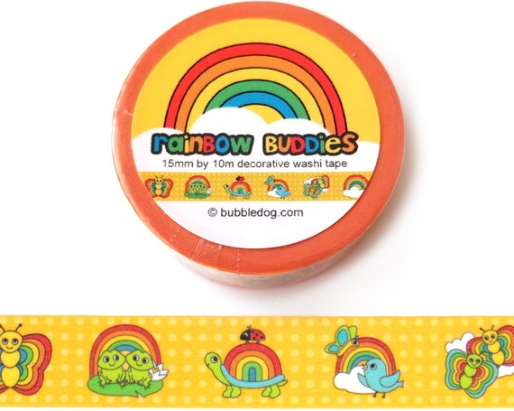 Rainbow Buddies Decorative Washi Tape Roll - Frogs, Butterflies, Turtles, Birds, and Ladybugs