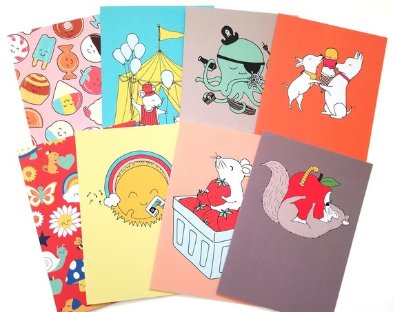 CHOOSE ONE: Assorted All Occasion Happy Animals Individual Blank Greeting Note Card or Choose 8 Card Set