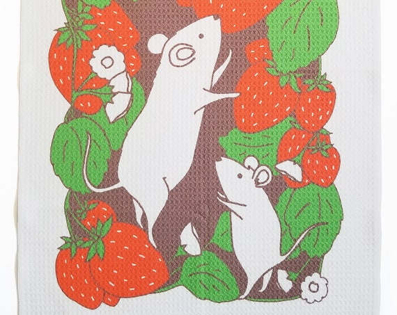 Strawberry Mice Microfiber Dish Towel