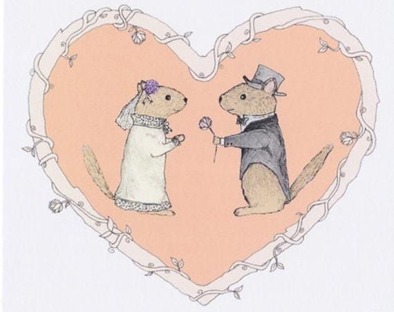 Chipmunk Wedding Card and Envelope