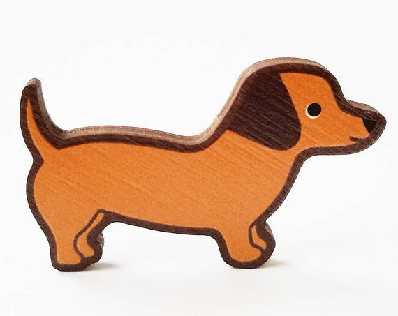 Dachshund Wooden Brooch Pin