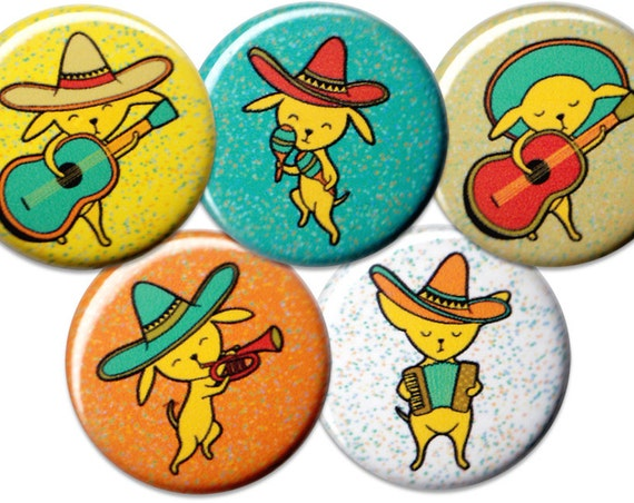 Chihuahua Mariachi Pin Set of 5 One Inch Pinback Buttons