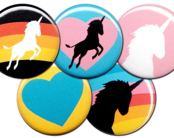 I Heart Unicorns Pin Set of 5 One Inch Pinback Buttons