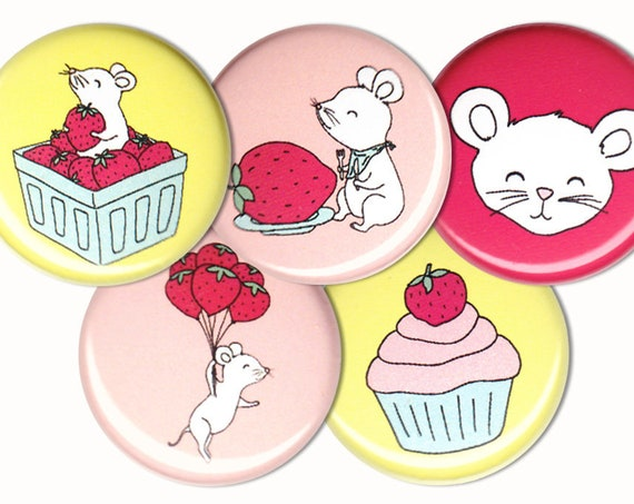 Strawberry Mice Pin Set of 5 One Inch Pinback Buttons