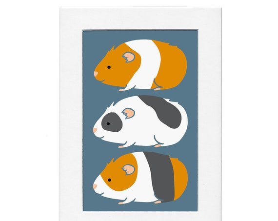 Guinea Pig Trio 5 by 7 Print with Matte