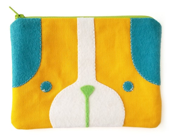 Puppy Dog Zipper Pouch in Yellow