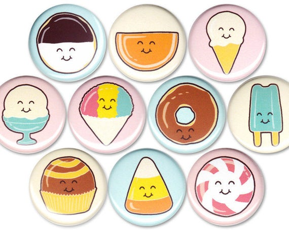 Happy Sweets Pin Set of 10 One Inch Pinback Buttons