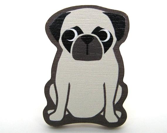 Pug Wooden Brooch Pin