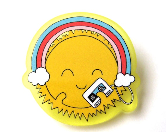 Happy Sun with Walkman Acrylic Brooch Pin