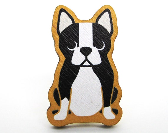 Boston Terrier Wooden Brooch Pin