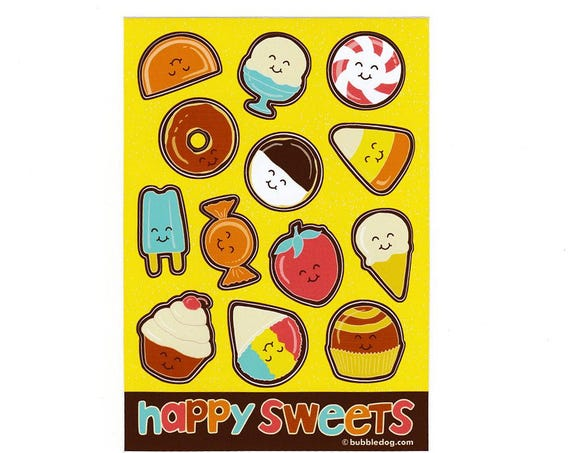 Happy Sweets Vinyl Stickers Sheet