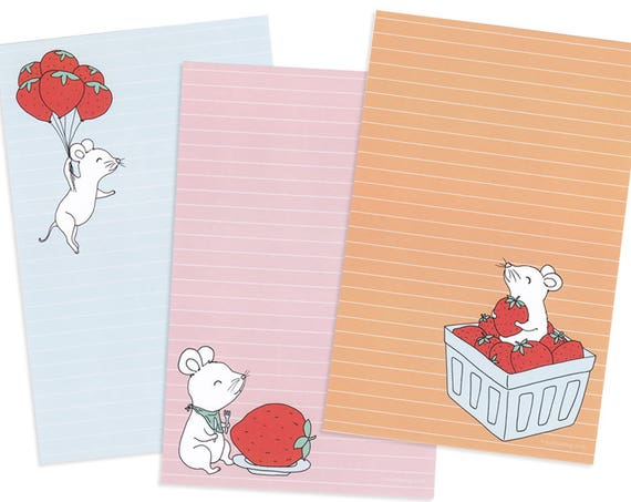 Strawberry Mice Stationery Set