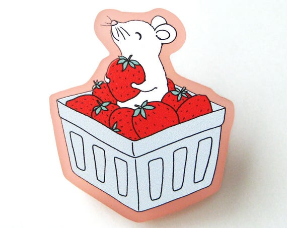 Strawberry Mouse Acrylic Brooch Pin