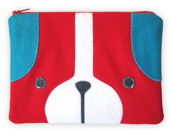 Puppy Dog Zipper Pouch in Red