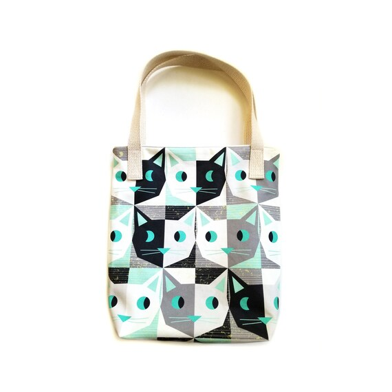 Retro Atomic Style Kitty Cat Tote Bag Purse