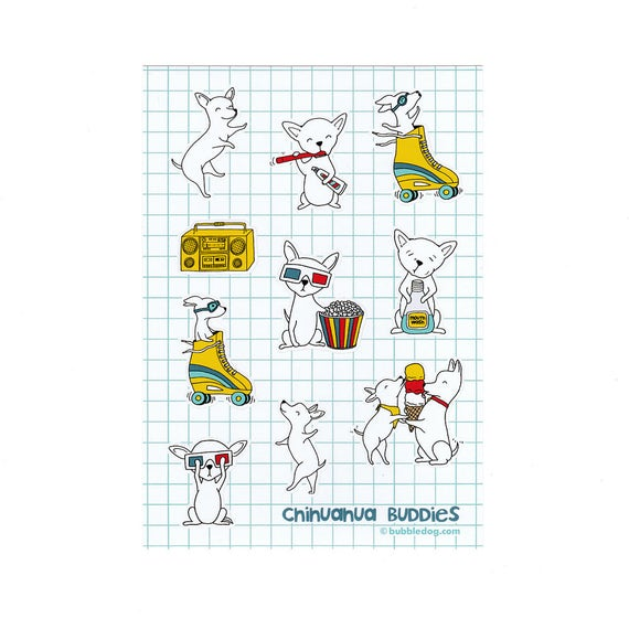 Chihuahua Buddies Vinyl Stickers Sheet