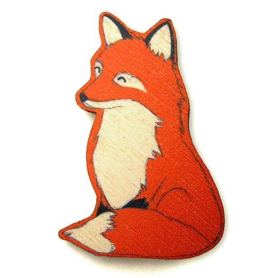 Happy Red Fox Wood Brooch Pin