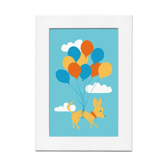 Chihuahua Flying with Balloons 5 by 7 Dog Print with Matte