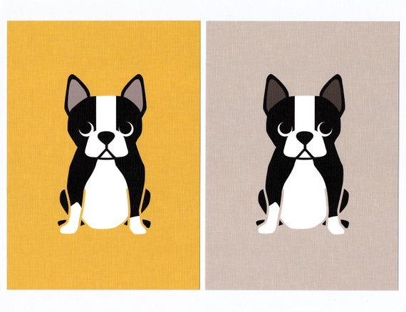 Boston Terrier Graphic Dog Print
