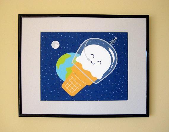 Astronaut Ice Cream Giclee Print
