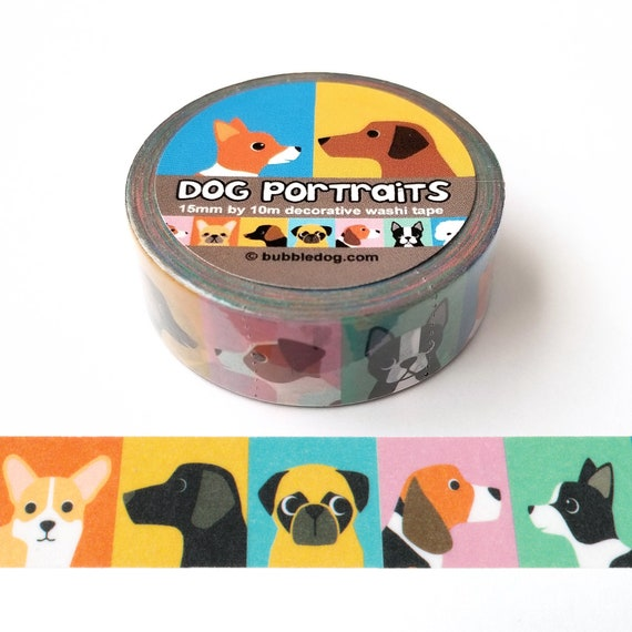 Dog Portraits Decorative Dog Breed Washi Tape Roll