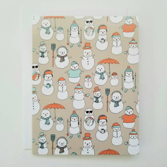 Holiday Snowmen Set of Eight Cards and Envelopes