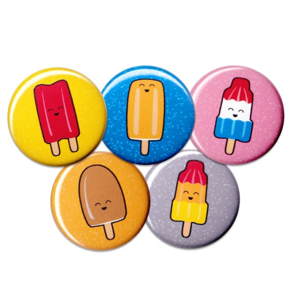 Happy Ice Pops Pin Set of 5 One Inch Pinback Buttons