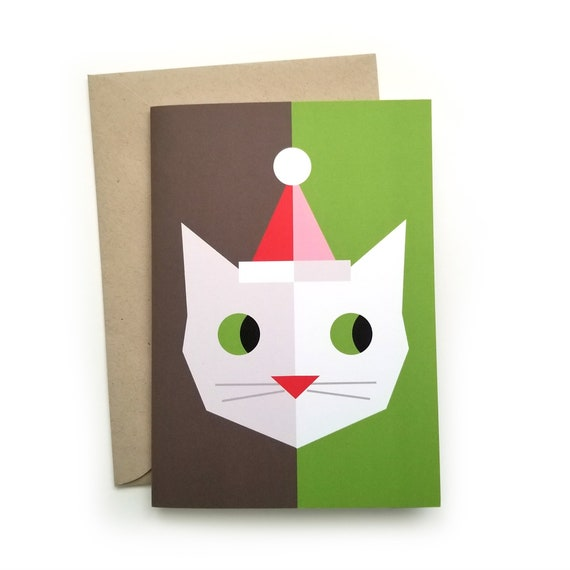 Santa Cat Set of Six Christmas Cards and Envelopes