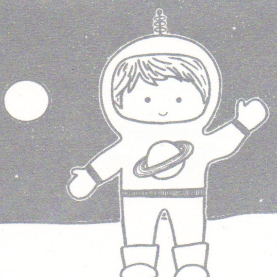 Astronaut Boy Notecards Set of Three Gocco Printed Cards