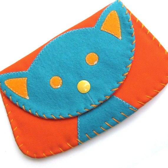 Large Turquoise Cat Snap Wallet Purse