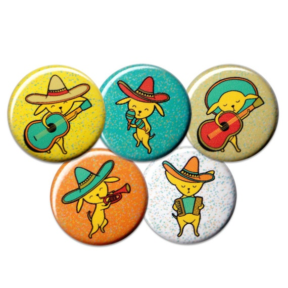 Chihuahua Mariachi Pin Set of 5 One Inch Pinback Buttons
