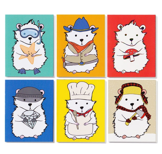 Hamster Notecards Set of Six Blank Cards