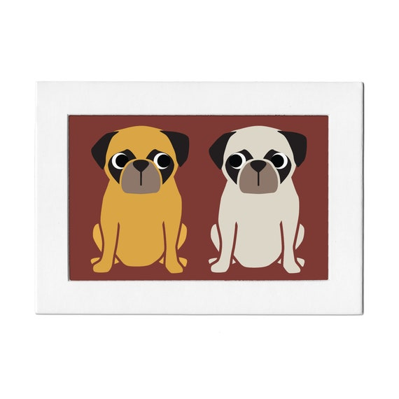 Pug Pals 5 by 7 Print with Matte