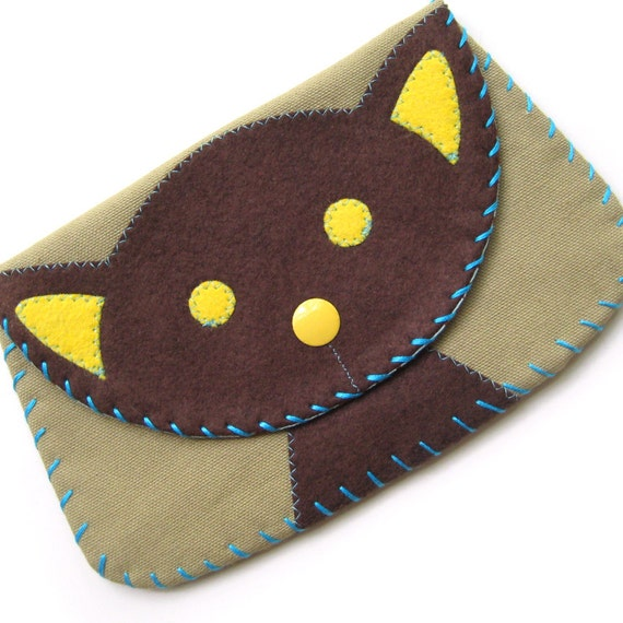 Large Cat Snap Wallet Purse in Brown and Tan