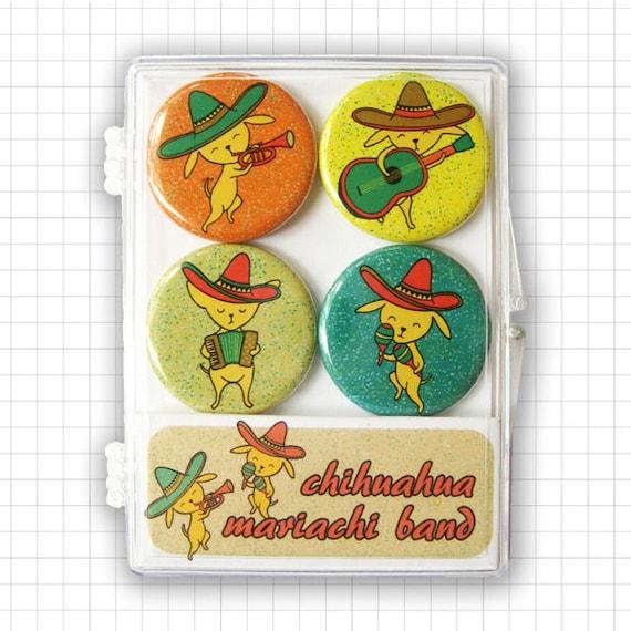 Chihuahua Mariachi Band Magnet Set