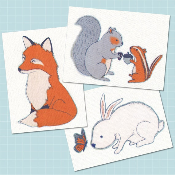 Woodland Animals Flat Note Card Set
