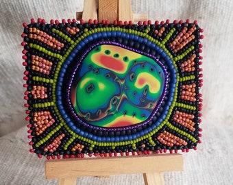 Rainbow Mixed Media ACEO - Mokume Gane Polymer Clay Seed Beads - Original ACEO